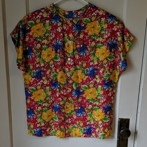 Tops - 100 % silk blouse colorful flowers 8